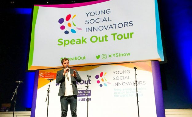 Cormac Moore hosting the YSI Speak Out event in the Mansion House.