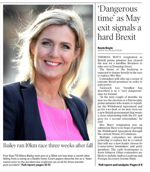 Maria Bailey Front Page Irish Independent