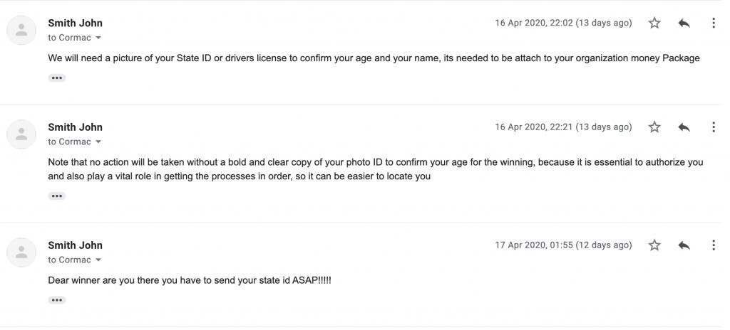 Coronavirus Scam email form